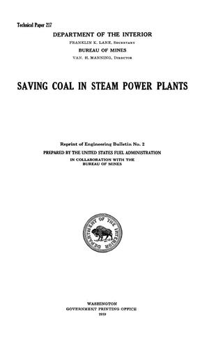 Primary view of object titled 'Saving Coal in Steam Power Plants'.