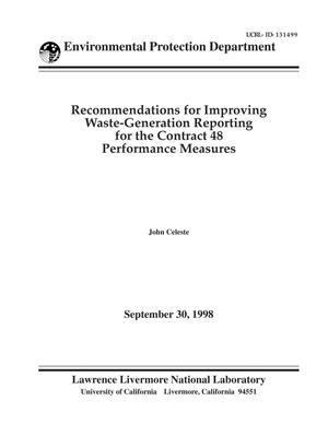 Primary view of object titled 'Recommendations for improving waste-generation reporting'.