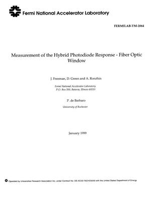Primary view of object titled 'Measurement of the hybrid photodiode response - Fiber optic window'.