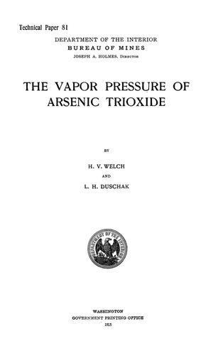 Primary view of object titled 'The Vapor Pressure of Arsenic Trioxide'.