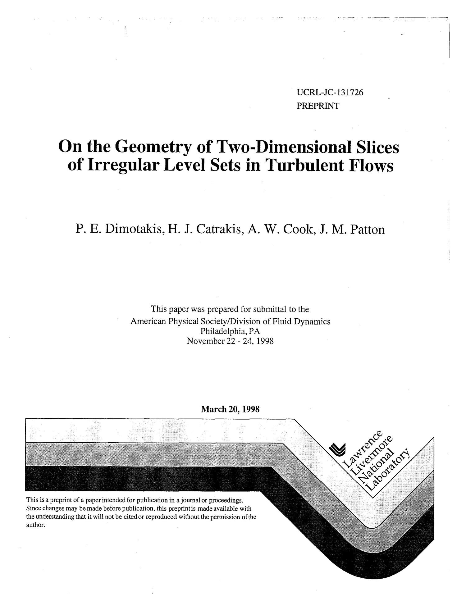 On the geometry of two-dimensional slices of irregular level sets in turbulent flows                                                                                                      [Sequence #]: 1 of 16