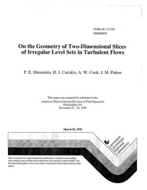 Primary view of object titled 'On the geometry of two-dimensional slices of irregular level sets in turbulent flows'.