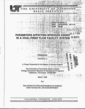 Primary view of object titled 'Parameters affecting nitrogen oxides in a Coal-Fired Flow Facility system'.