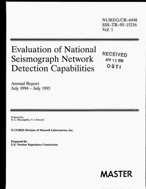 Primary view of object titled 'Evaluation of National Seismograph Network detection capabilities. Annual report, July 1994--July 1995: Volume 1'.