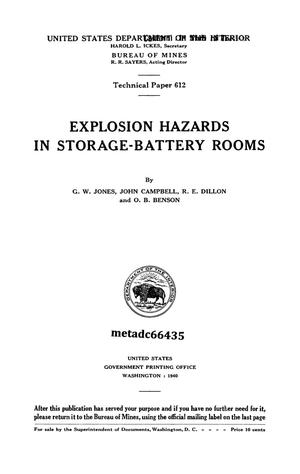 Primary view of object titled 'Explosion Hazards in Storage-Battery Rooms'.