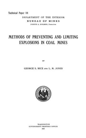Primary view of object titled 'Methods of Preventing and Limiting Explosions in Coal Mines'.