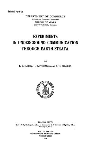 Primary view of object titled 'Experiments in Underground Communication Through Earth Strata'.