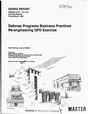 Primary view of object titled 'Defense programs business practices re-engineering QFD exercise'.