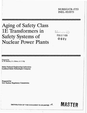 Primary view of object titled 'Aging of safety class 1E transformers in safety systems of nuclear power plants'.
