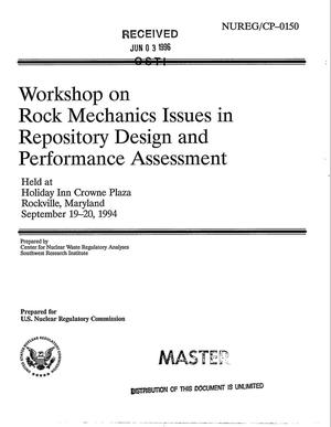 Primary view of object titled 'Workshop on rock mechanics issues in repository design and performance assessment'.