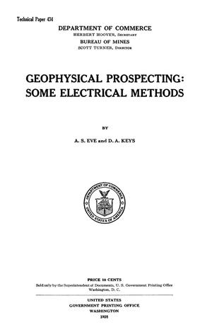 Primary view of object titled 'Geophysical Prospecting: Some Electrical Methods'.