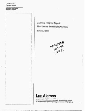 Primary view of object titled 'Monthly Progress Report Heat Source Technology Programs September 1996'.