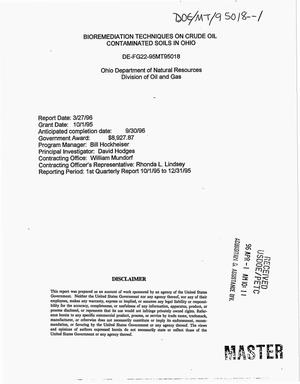 Primary view of object titled 'Bioremediation techniques on crude oil contaminated soils in Ohio. First quarterly report, October 1, 1995--December 31, 1995'.