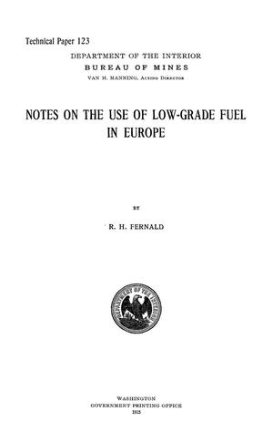 Notes on the Use of Low-Grade Fuel in Europe