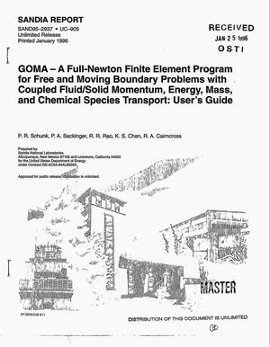 Primary view of object titled 'GOMA - A full-Newton finite element program for free and moving boundary problems with coupled fluid/solid momentum, energy, mass, and chemical species transport: User`s guide'.