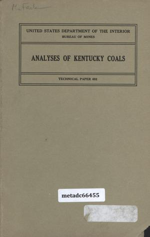 Primary view of object titled 'Analyses of Kentucky Coals'.