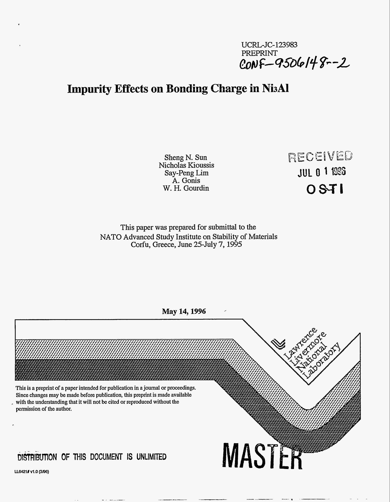 Impurity effects on bonding charge in Ni{sub 3}Al                                                                                                      [Sequence #]: 1 of 12