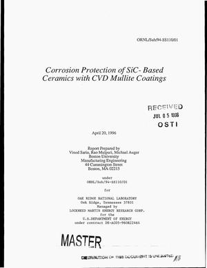 Primary view of object titled 'Corrosion protection of SiC-based ceramics with CVD mullite coatings'.