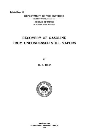 Primary view of object titled 'Recovery of Gasoline from Uncondensed Still Vapors'.