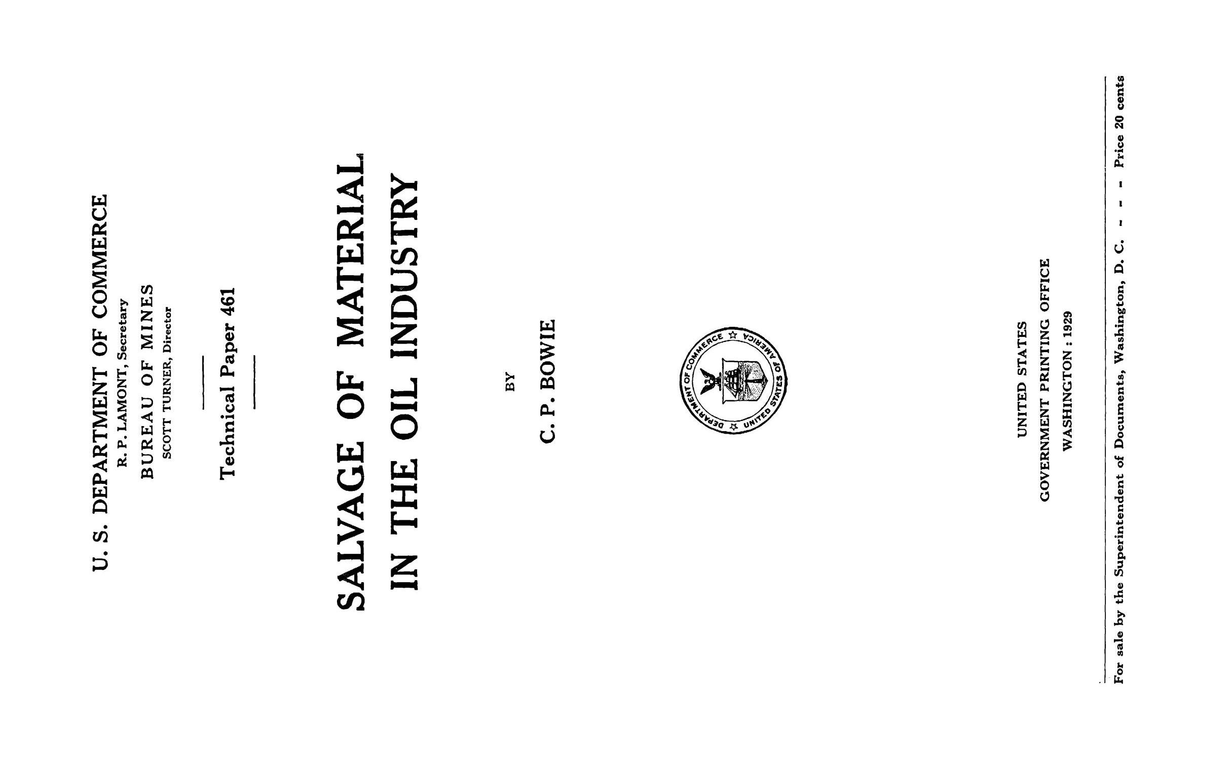 Salvage of Material in the Oil Industry                                                                                                      Title Page