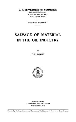 Primary view of object titled 'Salvage of Material in the Oil Industry'.
