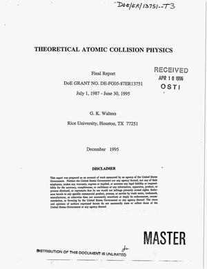Primary view of object titled 'Theoretical atomic collision physics. Final report, July 1, 1987-- June 30, 1995'.