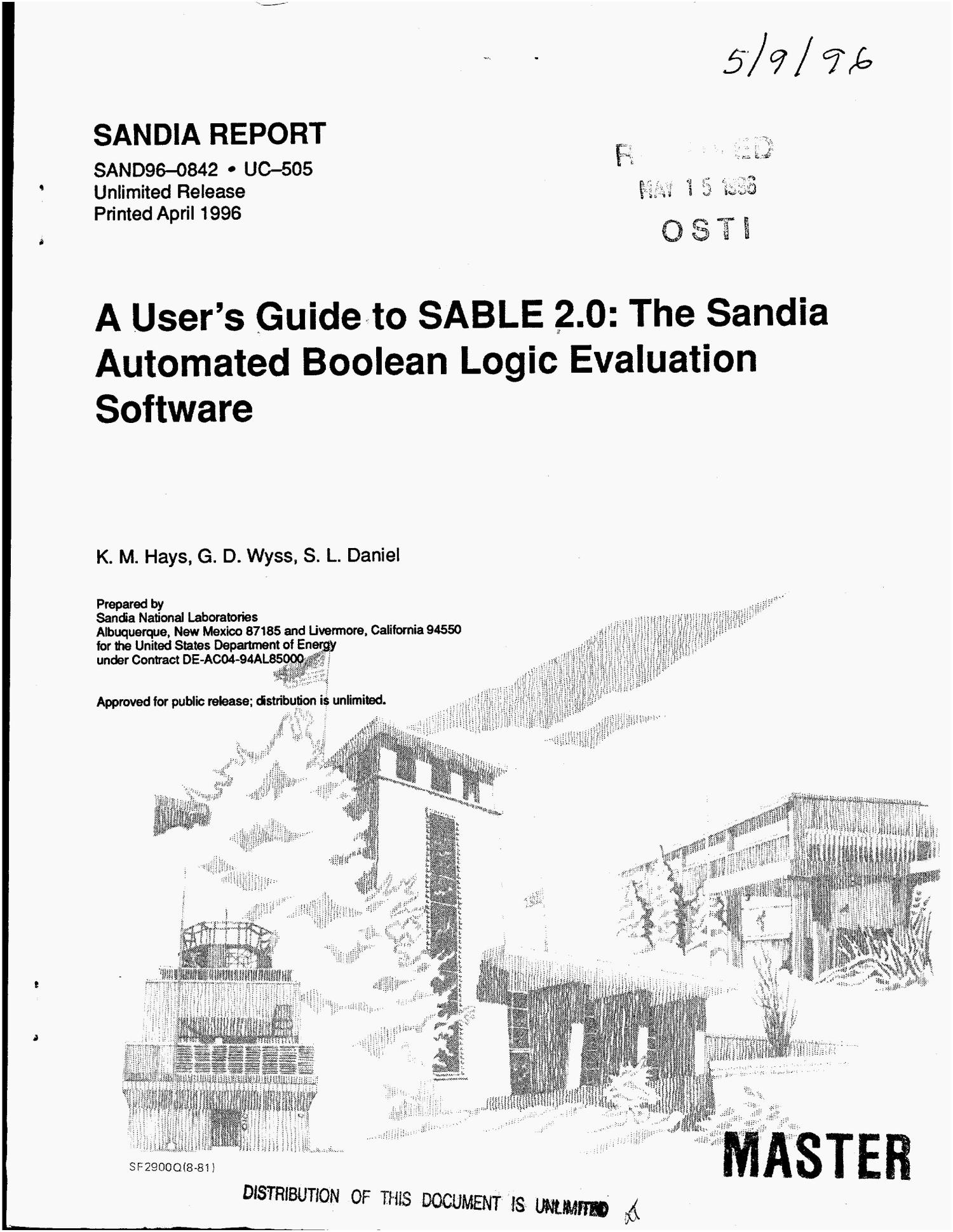 A Users Guide To Sable 20 The Sandia Automated Boolean Logic Evaluation Software Digital Library