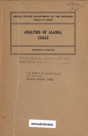 Primary view of object titled 'Analyses of Alaska Coals'.