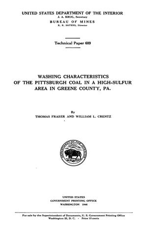 Washing Characteristics of the Pittsburgh Coal in a High-Sulfur Area in Greene County, Pennsylvania