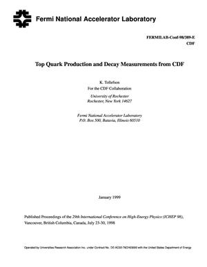 Primary view of object titled 'Top Quark Production and Decay Measurements from CDF'.