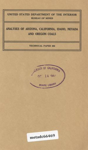 Primary view of object titled 'Analyses of Arizona, California, Idaho, Nevada and Oregon Coals'.