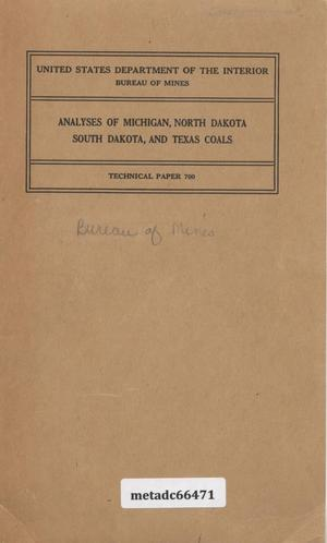 Primary view of object titled 'Analyses of Michigan, North Dakota, South Dakota and Texas Coals'.