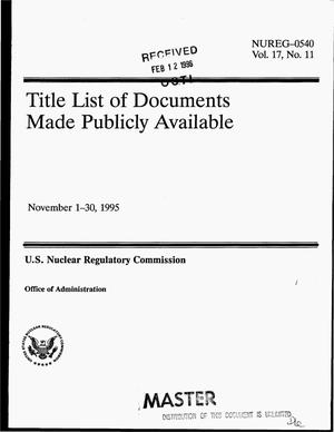 Primary view of object titled 'Title list of documents made publicly available, November 1-30, 1995'.