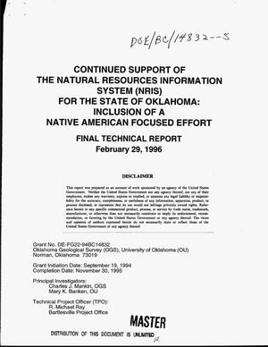 Primary view of object titled 'Continued support of the Natural Resources Information System (NRIS) for the State of Oklahoma: Inclusion of a Native American focused effort. Final technical report'.