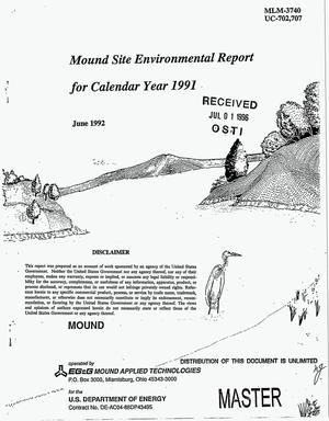 Primary view of object titled 'Mound site environmental report for calendar year 1991'.