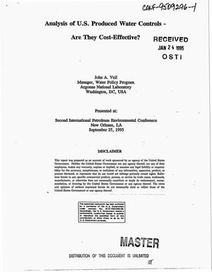 Primary view of object titled 'Analysis of U.S. produced water controls -- Are they cost-effective?'.