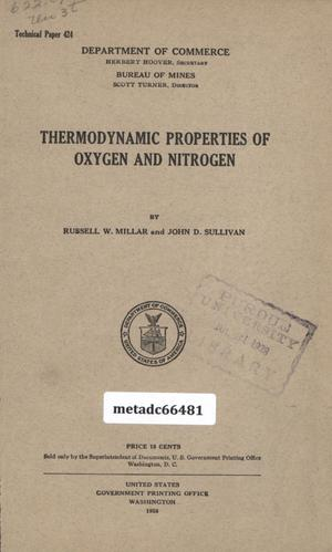 Primary view of object titled 'Thermodynamic Properties of Oxygen and Nitrogen'.