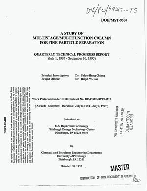 Primary view of object titled 'A study of multistage/multifunction column for fine particle separation. Quarterly technical progress report, July 1, 1995--September 30, 1995'.