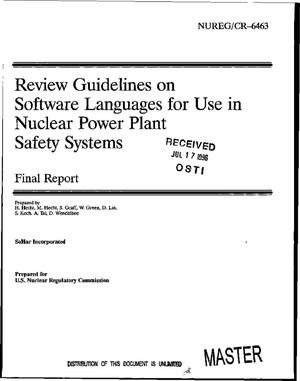 Primary view of object titled 'Review guidelines on software languages for use in nuclear power plant safety systems. Final report'.