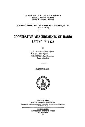 Cooperative Measurements of Radio Fading in 1925