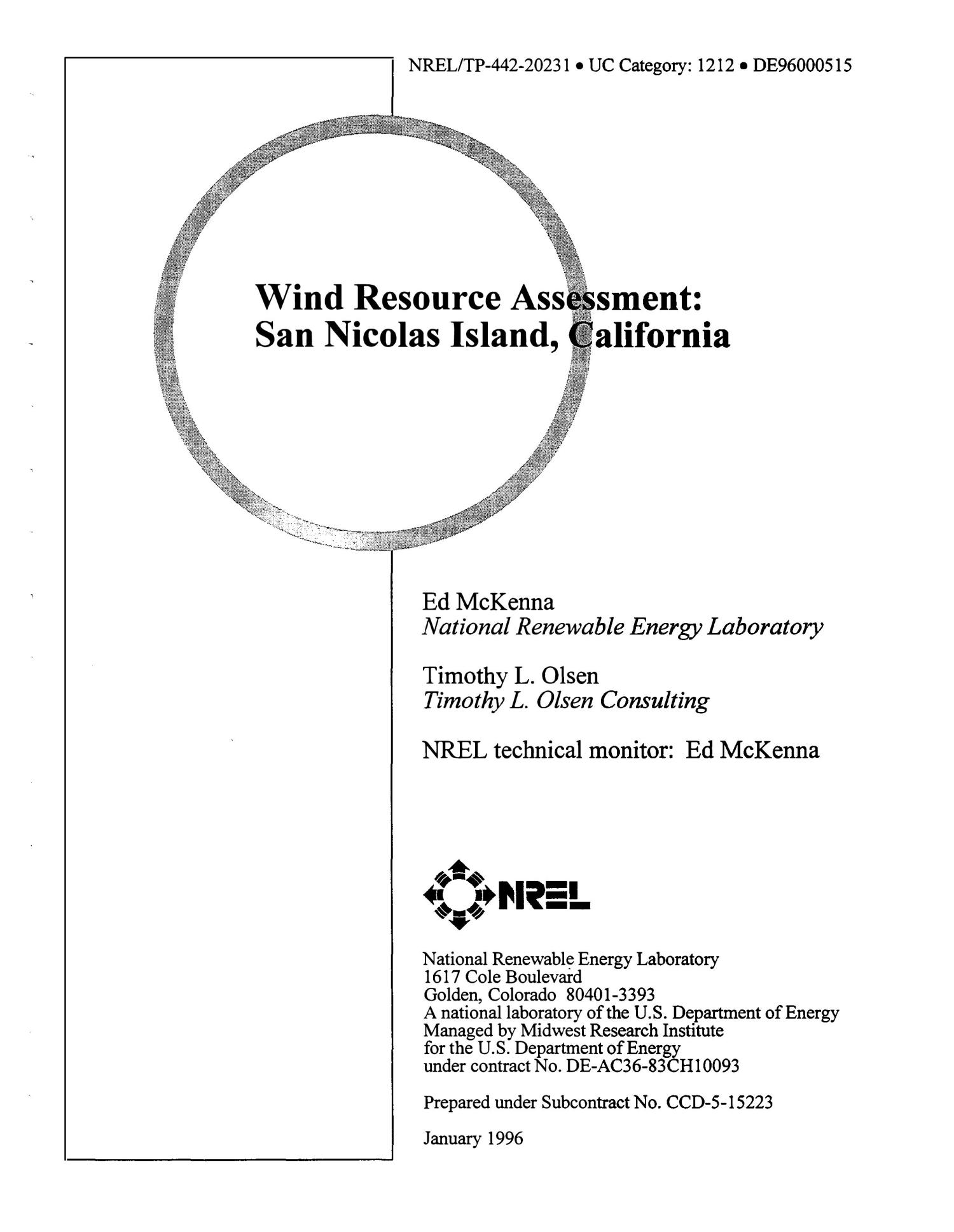 Wind resource assessment: San Nicolas Island, California                                                                                                      [Sequence #]: 1 of 109