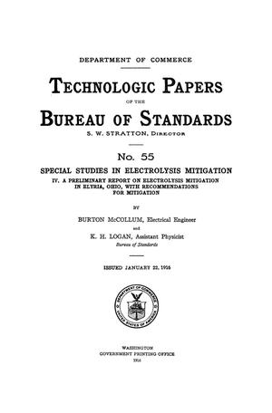 Primary view of object titled 'Special Studies in Electrolysis Mitigation: 4. A Preliminary Report on Electrolysis Mitigation in Elyria, Ohio, with Recommendations for Mitigation'.