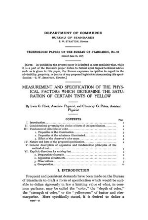 Primary view of object titled 'Measurement and Specification of the Physical Factors Which Determine the Saturation of Certain Tints of Yellow'.