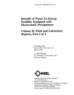 Primary view of object titled 'Retrofit of waste-to-energy facilities equipped with electrostatic precipitators. Volume II: Field and laboratory reports, Part 2 of 2'.