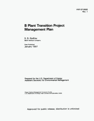 Primary view of object titled 'B plant transition project management plan'.