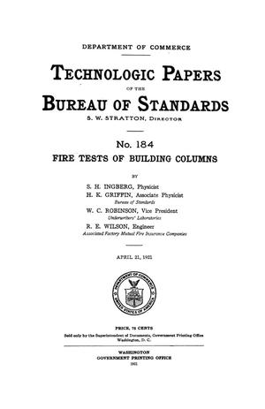 Primary view of object titled 'Fire Tests of Building Columns'.