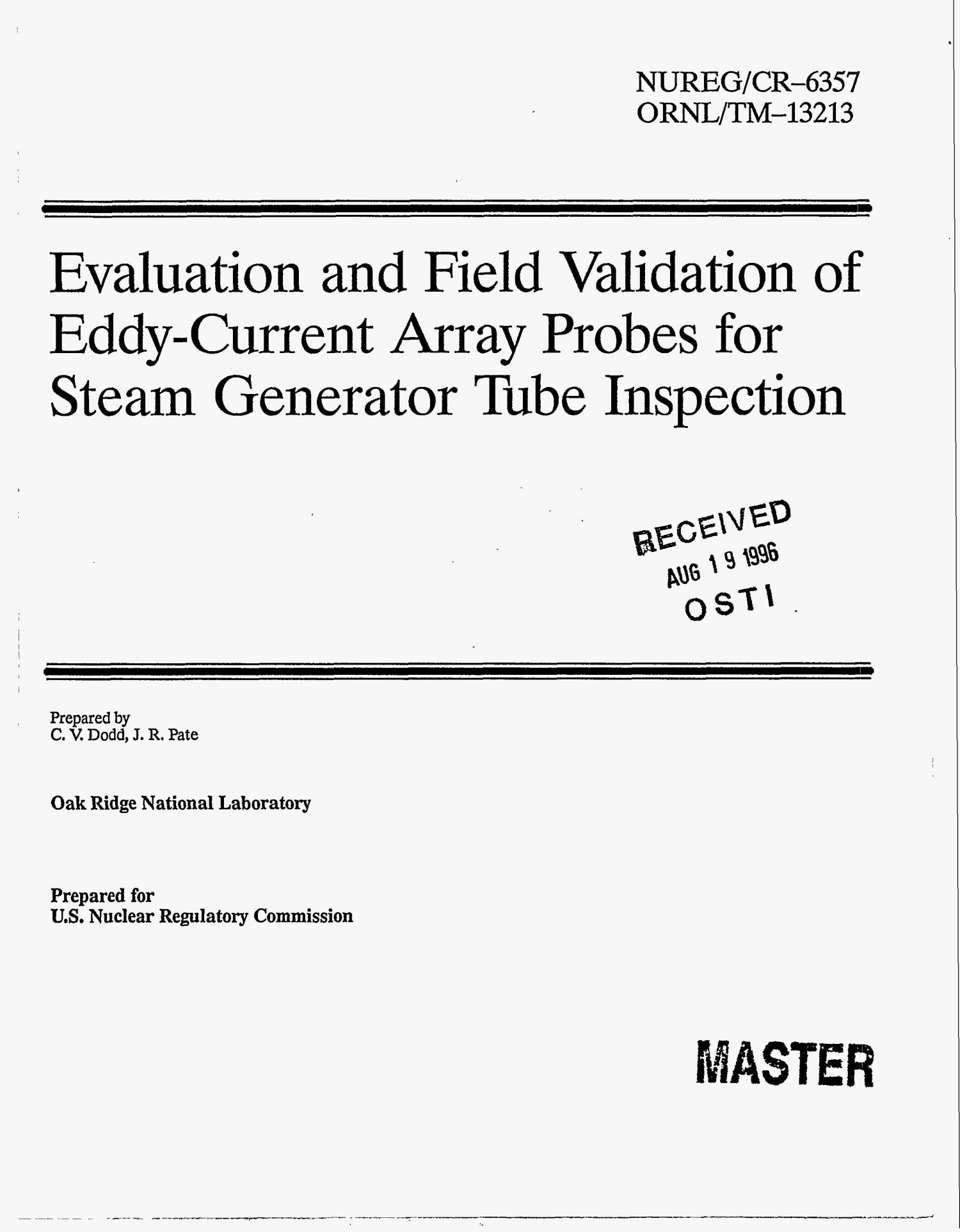 Evaluation and field validation of Eddy Current array probes for