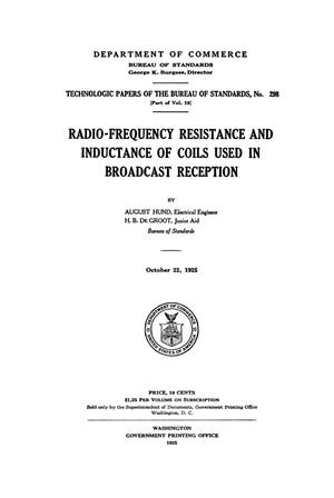 Radio-Frequency Resistance and Inductance of Coils Used in Broadcast Reception