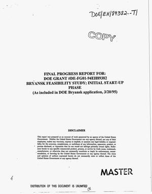 Primary view of object titled 'Bryansk feasibility study: Initial start-up phase. Final progress report'.