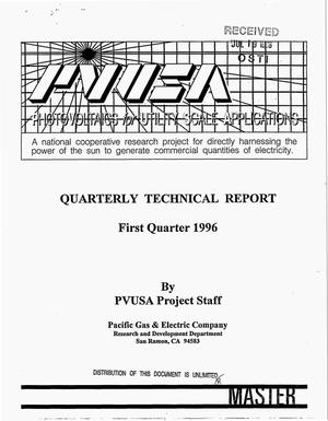 Primary view of object titled 'Phase II - photovoltaics for utility scale applications (PVUSA). Quarterly technical report, First quarter 1996'.